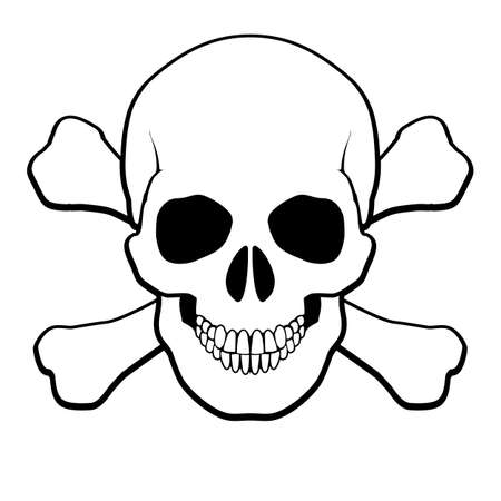pirata: Pirata Calavera y tibias cruzadas. Ilustración sobre fondo blanco