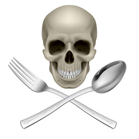 clean dishes: Human Skull with a Spoon and Fork. Illustration for design