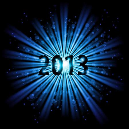 twenty thirteen: Blue abstract Happy New Year Twenty Thirteen background Illustration