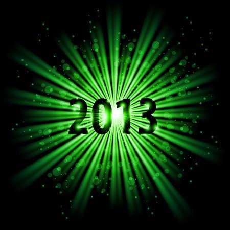 twenty thirteen: Green abstract Happy New Year Twenty Thirteen background
