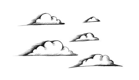 Sketch of clouds. Illustration on white  for your design Stock Photo