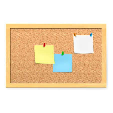 bulletin board: Realistic corkboard with pushpins and blank paper on white. Illustration
