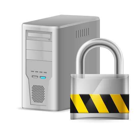 Padlock and Gray Case of Computer. Illustration of designer on a white background Vector