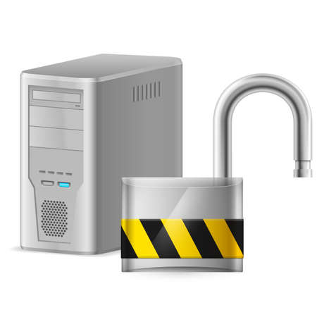 Open padlock - computer security concept. Illustration of designer on white background Vector