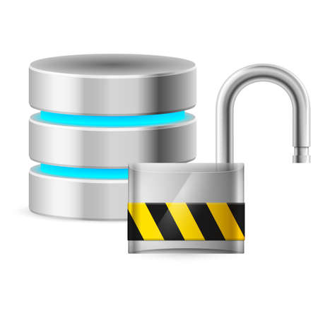 Open padlock - and Database computer security concept. Illustration on white background Vector