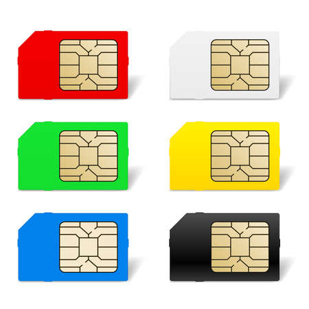 sim card: Sim card set. Illustration of designer on white background Illustration