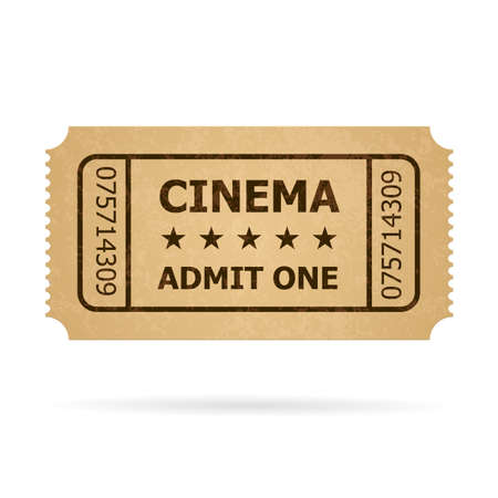 home cinema: Retro cinema ticket. Illustration of designer on a white background. Illustration