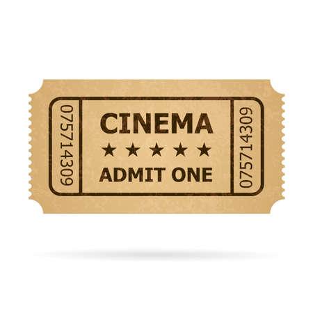movie ticket: Retro cinema ticket. Illustration of designer on a white background. Illustration