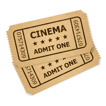 at the movies: Two retro cinema tickets. Illustration of designer on a white background Illustration