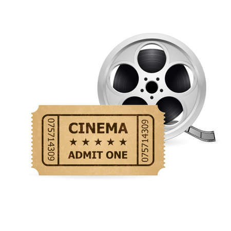 movie film reel: Retro cinema ticket and film reel.  Illustration of designer on a white background. Illustration