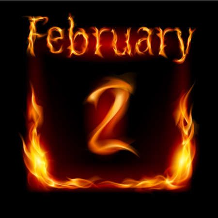 cutoff date: Second February in Calendar of Fire. Icon on black background