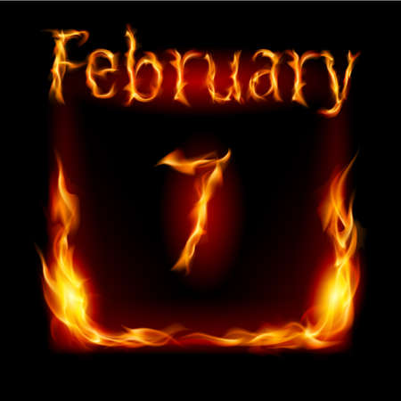Seventh February in Calendar of Fire. Icon on black background Vector