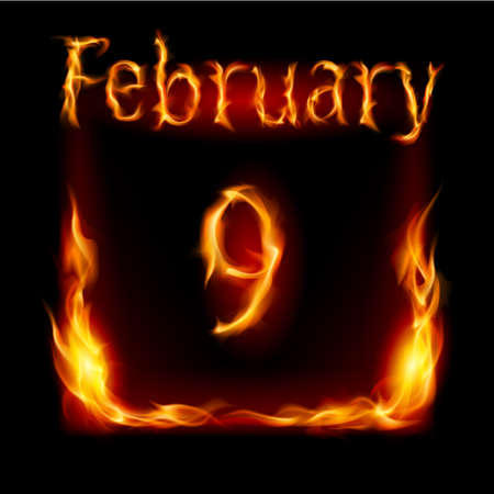 ninth: Ninth February in Calendar of Fire. Icon on black background