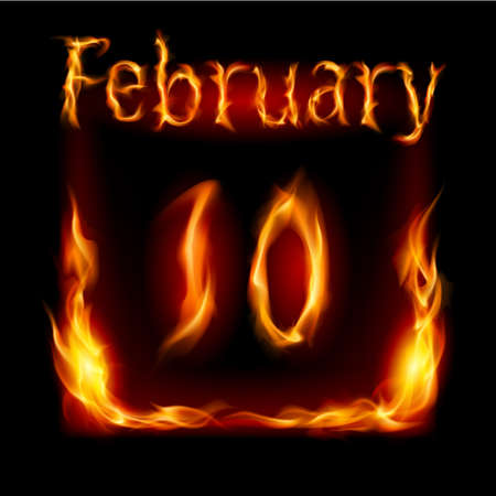 cutoff date: Tenth February in Calendar of Fire. Icon on black background Illustration