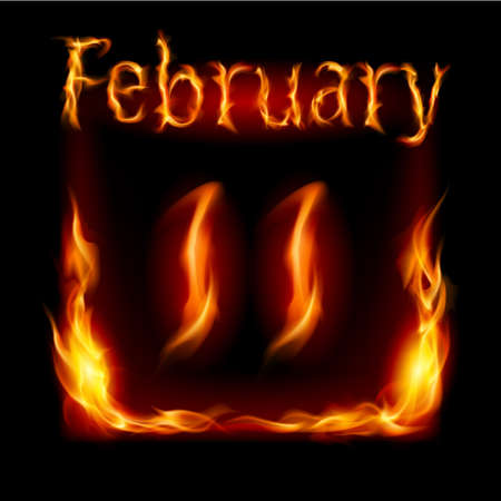 eleventh: Eleventh February in Calendar of Fire. Icon on black background