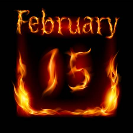 cutoff date: Fifteenth February in Calendar of Fire. Icon on black background
