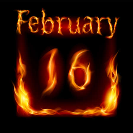 cutoff date: Sixteenth February in Calendar of Fire. Icon on black background