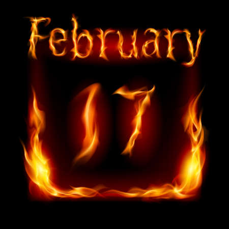 seventeenth: Seventeenth February in Calendar of Fire. Icon on black background