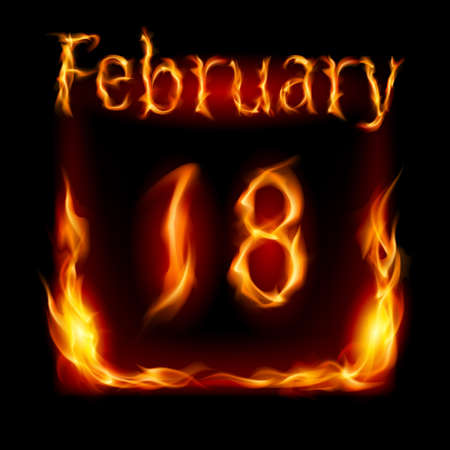 cutoff date: Eighteenth  February in Calendar of Fire. Icon on black background
