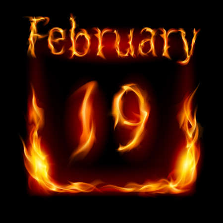 Nineteenth February in Calendar of Fire. Icon on black background Stock Vector - 17012462