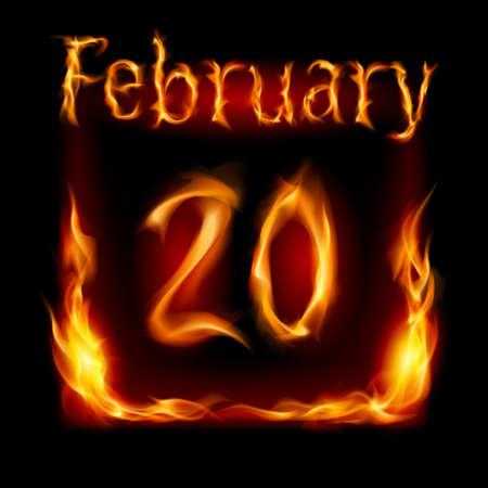 twentieth: Twentieth February in Calendar of Fire. Icon on black background