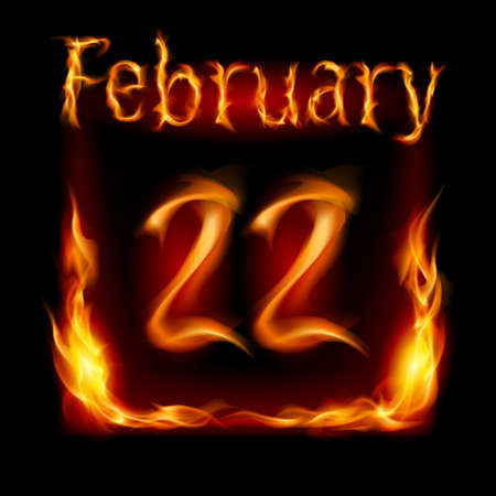 cutoff date: Twenty-second  February in Calendar of Fire. Icon on black background Illustration