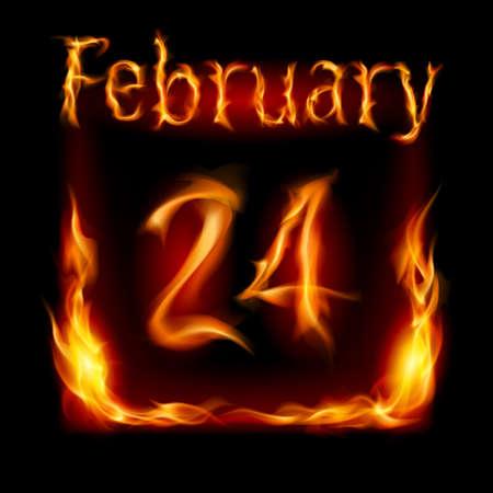 cutoff date: Twenty-fourth February in Calendar of Fire. Icon on black background