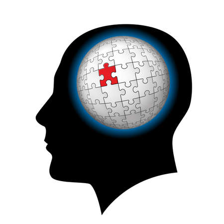The man with puzzle sphere in the head. Illustration on white background Vector