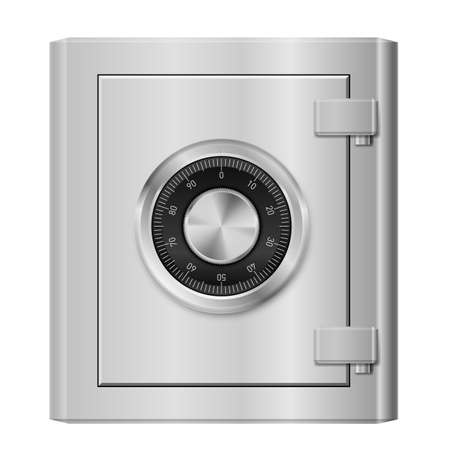 Realistic Steel safe. Illustration on white background for design Vector