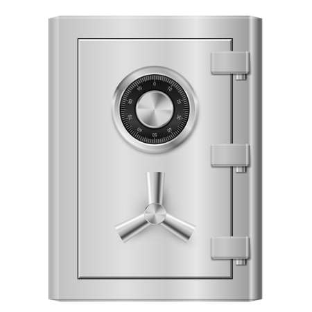 Realistic Steel safe. Illustration on white background.