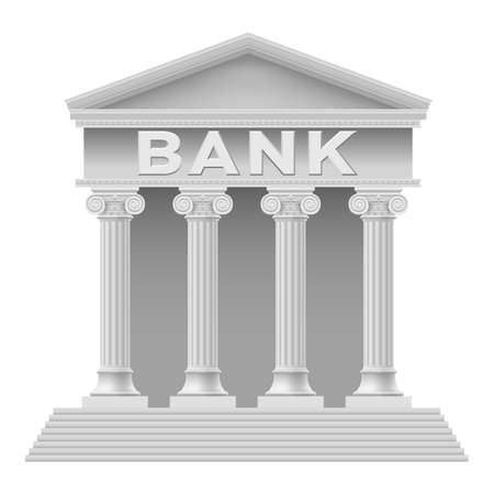 Bank building symbol. Illustration on white background Vector