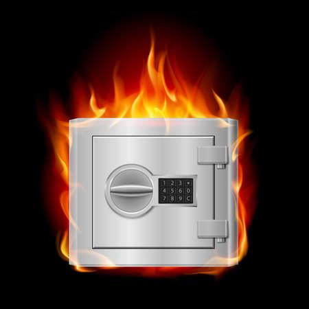 treasury: Burning steel safe. Illustration on black background