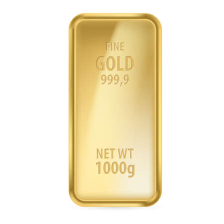 lingotes de oro: Realictick barra de oro en el fondo blanco