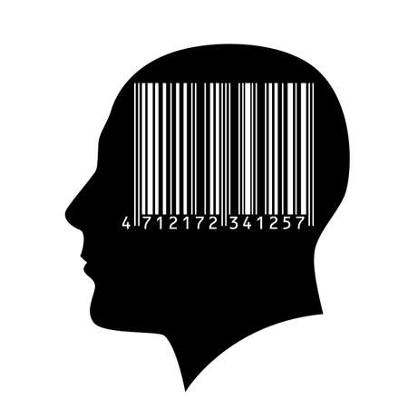 barcode: Head of a man with a barcode. Illustration on white background.