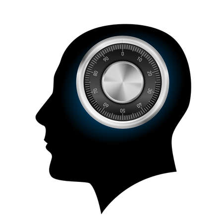 Human head with a combination lock. Illustration on white background Vector