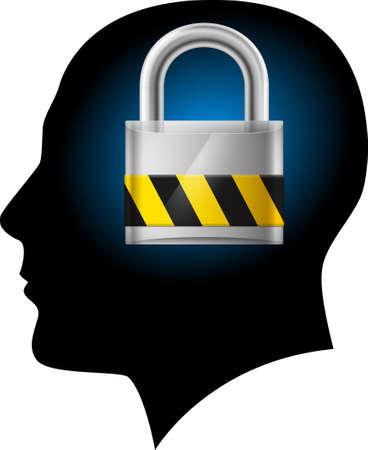 padlocked: Man with padlock in head. Illustration on white background for design Illustration