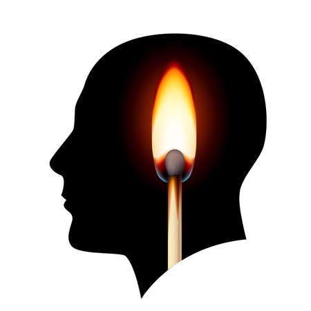 Creative ideas Burning match. Illustration on white background. Vector