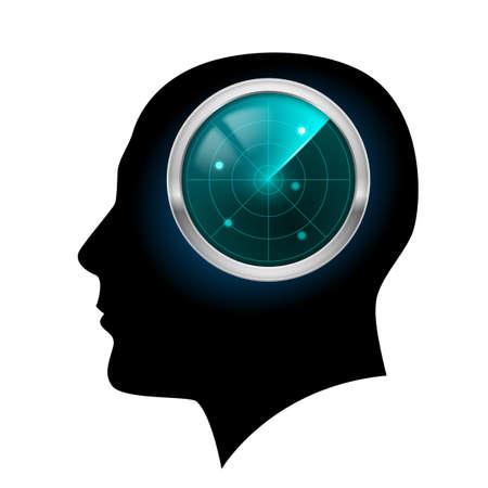 isolation: Man head silhouette. Illustration for design on white background. Illustration