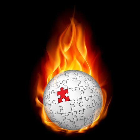 Burning puzzle sphere. Illustration on black background. Vector