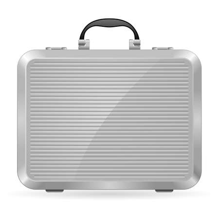 Silver briefcase. Illustration on white background for design Vector
