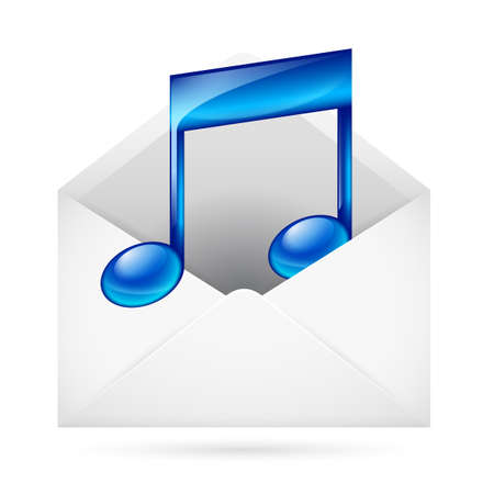 Music mail. Illustration for design on white background. Stock Vector - 17043212