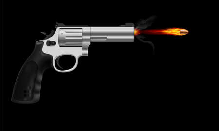Revolver firing bullet.  Illustration on black background Vector