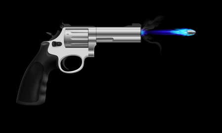 Revolver firing ice bullet. Illustration on black background Vector