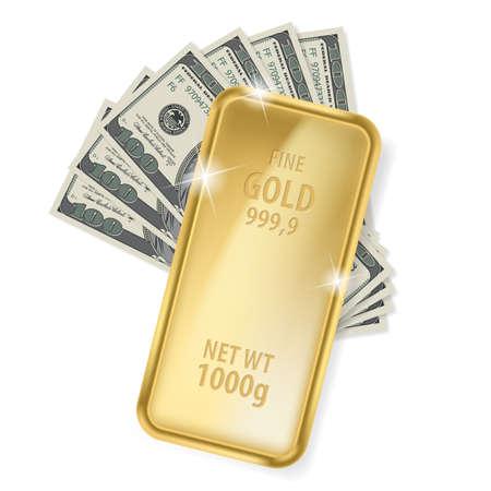 Gold bar and dollars. Illustration on white background for design Stock Vector - 17253064