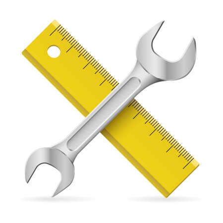 Spanner and ruler.  Illustration on white background Vector