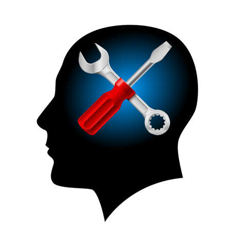 Human head with a screwdriver and wrench. Illustration on white background Vector