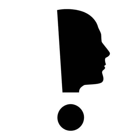 exclamation mark: Human face  with exclamation mark. Illustration on white