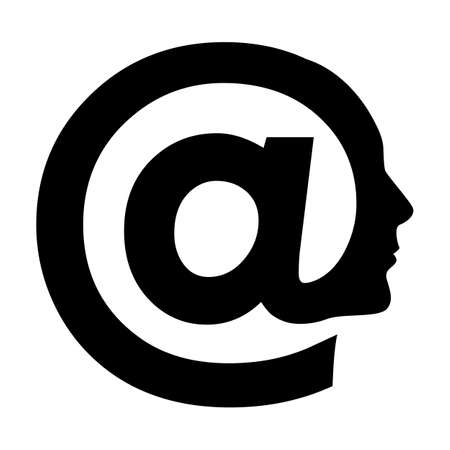 email communication: Human face  whith abstract symbol of AT. Illustration on white background Illustration