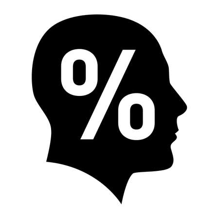 Human face with percent sign. Illustration on white background Vector