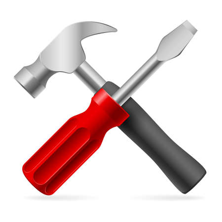 Screwdriver and hammer. Illustration on white background Stock Vector - 17319189